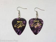 PRINCE guitar pick plectrum pick silver tone EARRINGS stamped signature PURPLE