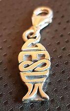 Clip per Gesù Pesce Sterling Silver Charm .925 CRISTIANESIMO Santa Pasqua Regalo