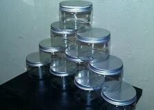 10 Plastic Jars 8oz., Clear PET Straight Sided Jars w/ Lined Aluminum Caps
