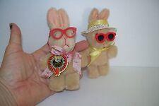 "Set of 2 Vintage Retro 70's Fuzzy Beige Mini 5"" Plush Bunny Rabbits Bunnies"