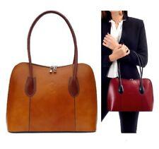 Neues AngebotDamen Handtasche Damen Schultertasche italienische Leder Vera Pelle Hellbraun/Braun Beuteltasche