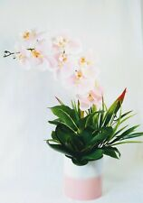 Real Touch Pink Orchid Floral Arrangement in White and Pink Planterwith Greenery
