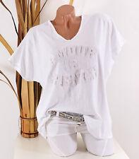 Italy 38 40 42 44 weiß Oversize Shirt AMOUR 3D Druck Tunika Vintage Damen