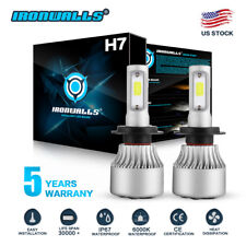 IRONWALLS H7 LED Headlight Bulb Conversion Kit High Low Beam Fog Lamp 6000K HID