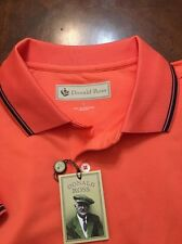 Mens NWT Donald Ross Performance S/S Polo Golf Shirt L Lrg Nectar w Navy Tipping