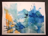 """Original Abstract watercolor painting Blue and Yellow Orange no. 01 12"""" x  9"""""""