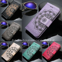 Luxury Flip Cover Wallet Purse Card PU Leather Embossed Flower TPU Stand Case HH