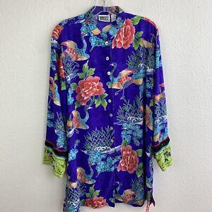 Chicos Asian Geisha Size 3 Silk Button Front Tunic Top Crane Bird Floral Purple