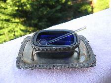 VINTAGE  SILVER COLOR & COBALT BLUE GLASS OPEN SALT CELLAR WITH  SPOON