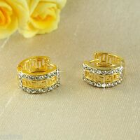 E11 18K Gold Filled Crystal Small Hoop Huggie Earrings - Giftpouch - UK Seller