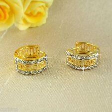 E11 18K Gold Filled Crystal Small Hoop Huggie Earrings - UK Seller