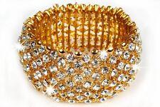 Women's Ladies Fashion Jewelry Gold Rhinestone Bracelet Adjustable