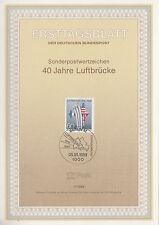 TIMBRE FDC ALLEMAGNE  BERLIN OBL ERSTTAGSBLATT AVION PONT AERIEN  1989