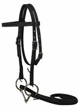 "Weaver Black Leather Western Bridle w/ 4 1/2""  Bit & Reins Pony Made in USA"