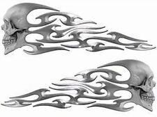 """Tribal Skull Flame Decals Silver Motorcycle Tank 13"""" REFLECTIVE FL11"""
