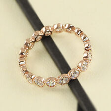 Rose Gold gp lab Diamond Wedding Party Eternity Love Anniversary Band Ring Sz 5