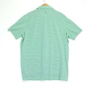 Johnnie O Performance Polo Shirt Mens XL Green Blue Striped Short Sleeve Golf