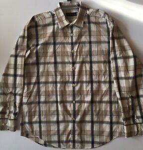 Kenneth Roberts,Platinum, Mens Plaid Button Down Long Sleeve Shirt, Beige, Sz XL