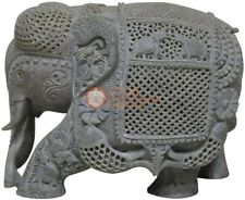 "12"" Handmade Soapstone Jumbo Elephant Sculpture Filigree Art Veterans Eve Gifts"