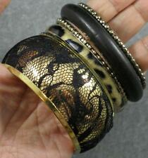 Leopard Lace Steel Brass Wood Black Gold 6 Bangle Bracelet Set