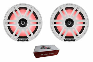 "Pair of Rockford 8"" White 2400W 4 Ohm Color Optix Marine 2 Way Horn M2-8H"