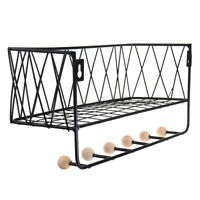 Iron Rack Wooden Wall Hanging Shelf Holder Books Pot Plant Storage +Ho ❤