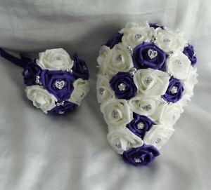 Wedding flowers Cadbury Purple & White Bouquet Posy Teardrop Wand Buttonholes