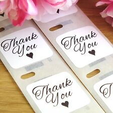 100 x 'Thank You' Stickers - White Square Love Heart Wedding Labels / Favours
