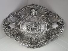 Large Pierced 800 Silver German Germany Bread Basket Repousse Picnic Scene