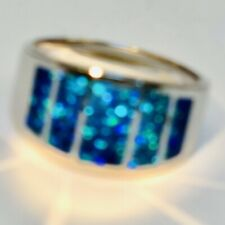 HANDSOME 8 Men's Black Blue Rich Opal Flush Black Opal Windows ring Sterling