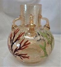 Vintage Czechoslovakian Crackle Glass 4 Handled Vase, Seaweed Decoration