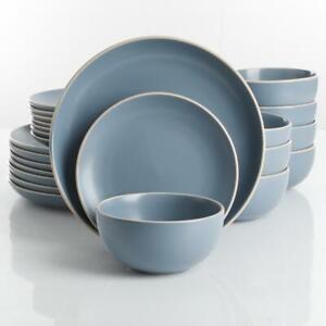 Gibson Home Dinnerware Set 24-Piece Modern Matte Blue Ceramic Service for 8
