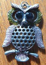 Silver Tone Pendant Vintage Owl Colourful