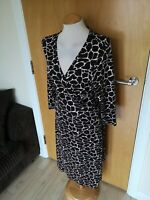 Ladies Dress Size 16 FENN WRIGHT MANSON Brown Pink Stretch Smart Casual Day