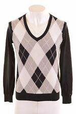 TOMMY HILFIGER Mens V-Neck Jumper Sweater Large Black Cotton  LB10