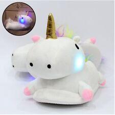 Women Ladies Cute Soft Plush LED Light Up Warm Glow Novelty Unicorn Slippers