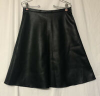 Weekend Max Mara Women's Black Faux Leather A Line Skirt Size 8