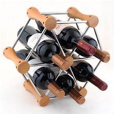 6 Bottles Wood Wine Rack Free Standing Kitchen Stand Bar Storage 3332U