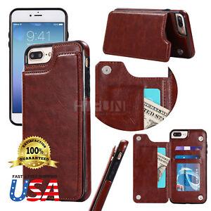iPhone X 7 8 Plus Samsung S8 S9 Plus Note8 Leather Wallet Case Card Slot Flip