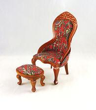 Closeout! Dollhouse Miniature Reutter Lady Slipper Chair & Ottoman , 1.862