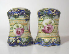 HAND PAINTED Antique Nippon Moriage Salt  / Pepper Shaker with RED ROSES Flowers