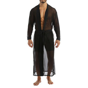 Men Cloak Top Open Front Sexy Mesh Transparent See-Through Lace Night-Robe Shirt