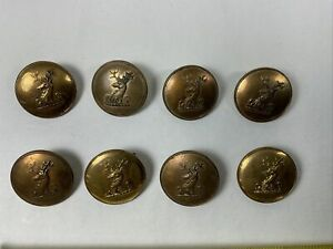 DEER Stag Head Lot 8 Antique Brass 27mm Navy Sport Jacket Buttons Set Of 8 Lot