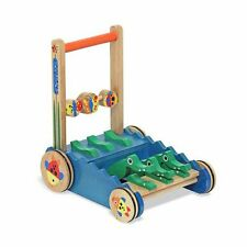 Melissa Doug Deluxe Chomp and Clack Alligator Wooden Push Toy and Activity