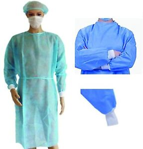 10 X Isolation Gown Disposable Surgical Gowns Blue 25gsm Made From High Quality