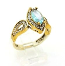 925 STERLING SILVER BRONZE BLUE AQUAMARINE WOMEN'S RING 9 US TURKISH JEWELRY