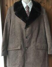Vtg Sears Travelknit Warm Faux Fur Lined Men's 46 R Coat 70s 80s Unique