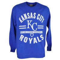 MLB Kansas City Royals KC Long Sleeve Pullover Tshirt Blue Mens Adult Sport