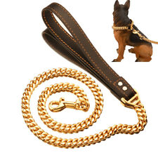 14mm Heavy Duty Chain Dog Leash Leather Handle Cuban Link for Large Medium Dogs