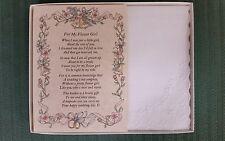 Flower Girl Hankie Handkerchief Poem Wedding Gift Keepsake Favor Bride BH119